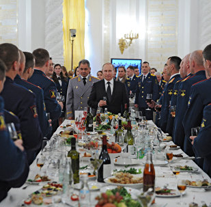 Russian President Vladimir Putin hosts reception in honor of military academy graduates