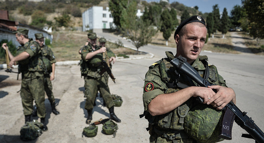 Soldiers at the Russian Black Sea Fleet base in Sevastopol
