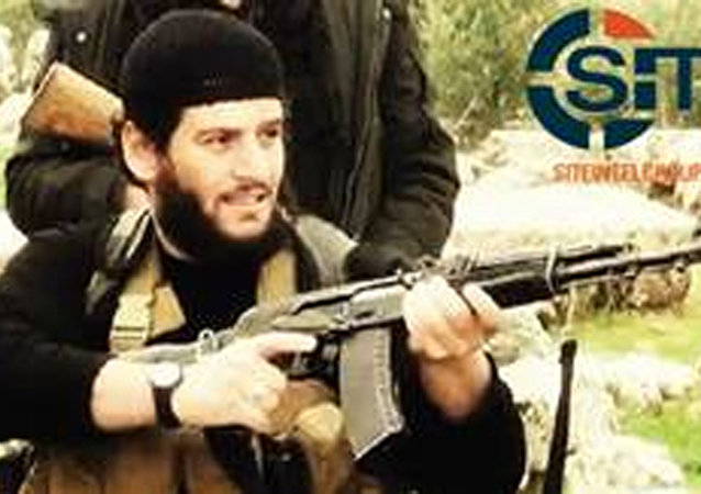 This undated militant image provided by SITE Intel Group shows Abu Muhammed al-Adnani, the Islamic State militant group's spokesman who IS say was martyred in northern Syria.