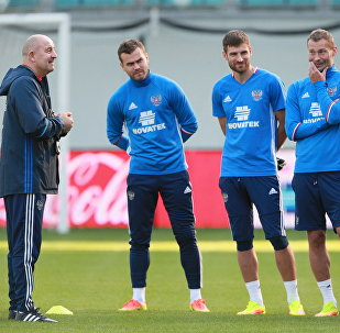 Russian national football team holds training session