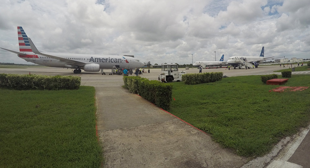 In this Friday, June 10, 2016, file photo, American Airlines and JetBlue Airways charter flights wait to depart from Havana's Jose Marti International Airport