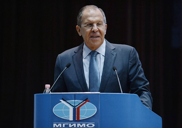 Foreign Minister Sergey Lavrov speaks at a meeting with students and faculty of the Moscow Institute of International Relations (MGIMO) to mark the beginning of a new academic year
