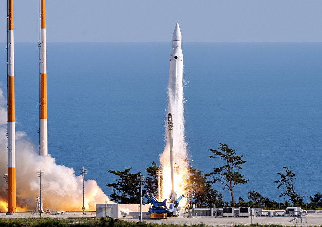The Korea Space Launch Vehicle-1 (KSLV-1) launches off at the Naro Space Centre in Goheung, 485 km south of Seoul