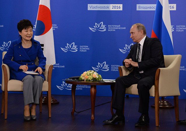 September 3, 2016. Russian President Vladimir Putin during a meeting with South Korean President Park Geun-hye as part of the Eastern Economic Forum.