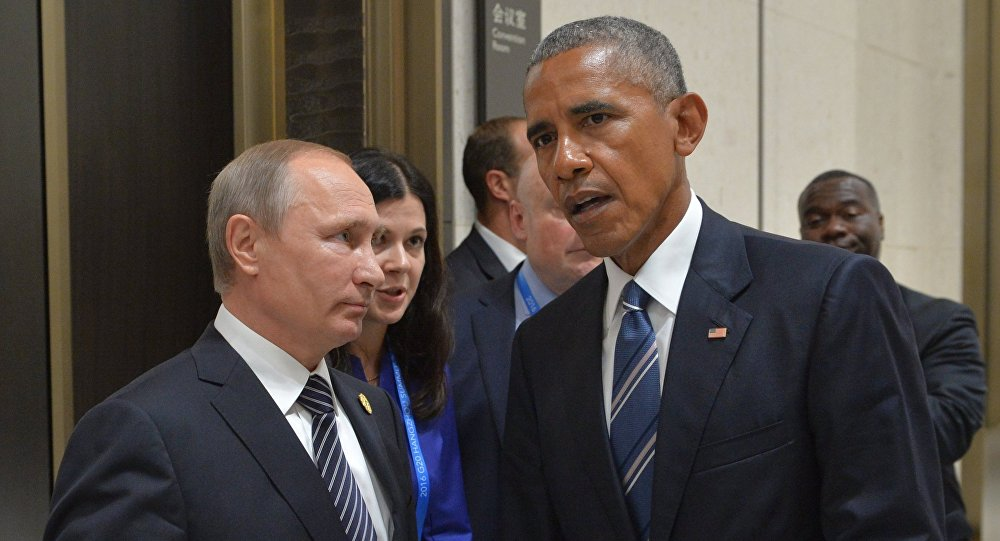 Russian President Vladimir Putin, left, and US President Barack Obama during a meeting in Hangzhou