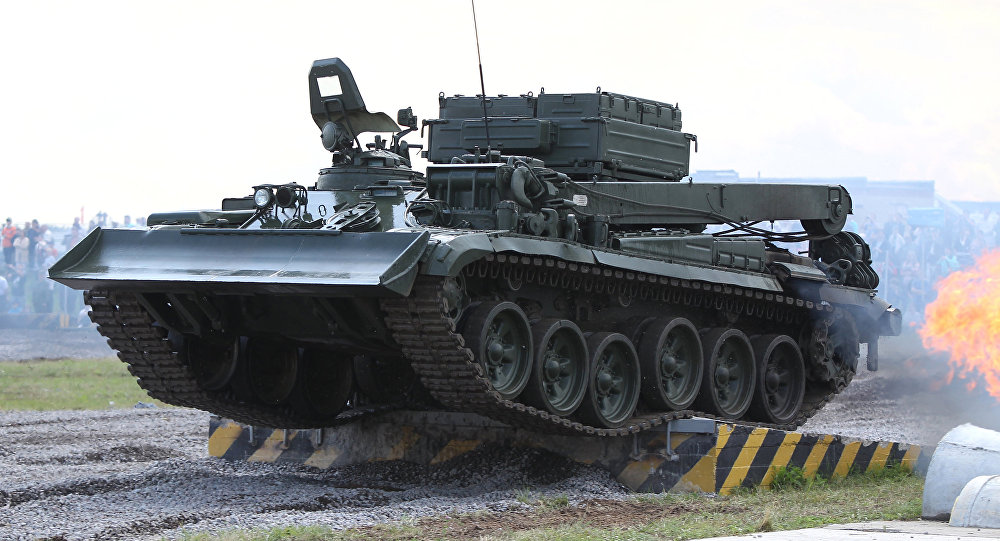 Armoured recovery vehicle (BREM-1) in demonstration runs at the 2nd international forum Engineering Technologies-2012 in Zhukovsky near Moscow