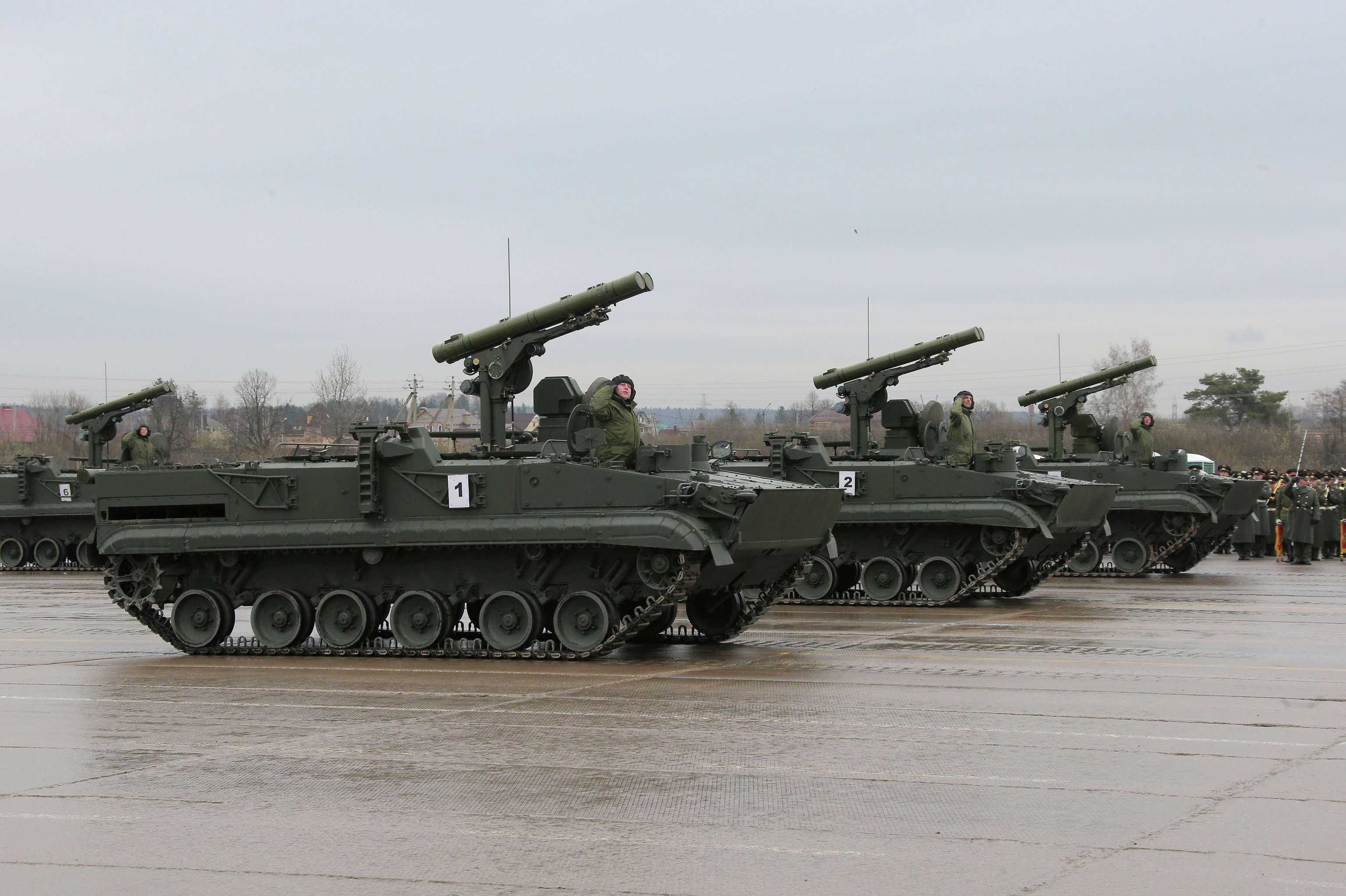 Khrizantema-S anti-tank missile systems at a parade rehearsal outside Moscow.