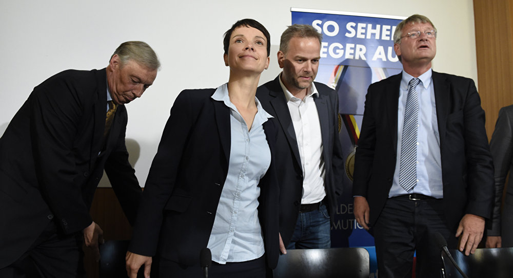 (L to R)Chair of Alternative for Germany (AFD) in Lower Saxony Armin Paul Hampel,leader of the AFD Frauke Petry, top candidate for the AFD in Mecklenburg-Western Vorpommern Leif-Erik Holm and co-leader of AFD Joerg Meuthen arrive for a press conference in Berlin, on September 5, 2016 on day after the regional state elections in Mecklenburg-Western Vorpommern