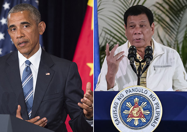 This combination image of two photographs taken on September 5, 2016 shows, at left, US President Barack Obama speaking during a press conference following the conclusion of the G20 summit in Hangzhou, China, and at right, Philippine President Rodrigo Duterte speaking during a press conference in Davao City, the Philippines, prior to his departure for Laos to attend the ASEAN summit