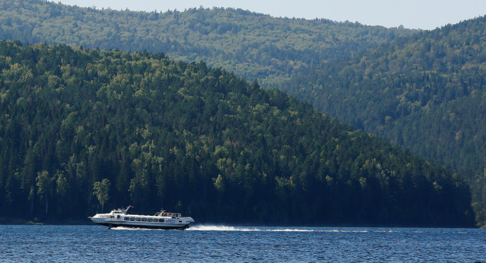 A passenger hydrofoil boat sails along the Yenisei River in Taiga district outside the Siberian city of Krasnoyarsk, Russia, September 5, 2016