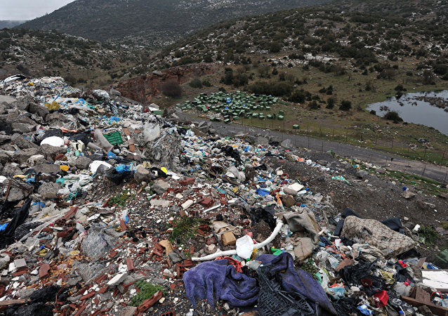 A picture taken on February 15, 2013 shows waste in an illegal landfill near the Greek city of Tripoli