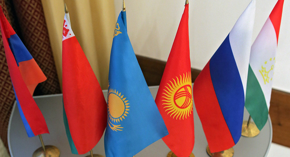 Flags of the member states of the SCO, CSTO, CIS and EurAsEC.