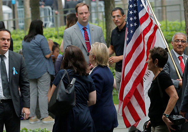 US Democratic presidential candidate Hillary Clinton leaves ceremonies marking the 15th anniversary of the September 11 attacks at the National 9/11 Memorial in New York, New York, United States September 11, 2016.