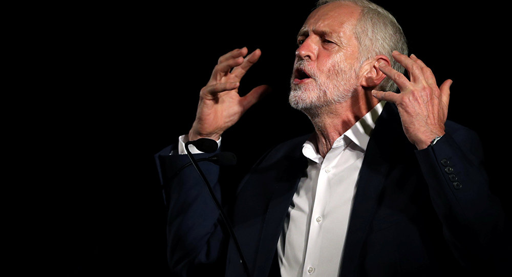 Britain's Labour leader Jeremy Corbyn speaks at a rally in advance of tonight's debate with Owen Smith at a Labour Leadership Campaign event in Glasgow, Scotland, August 25, 2016.