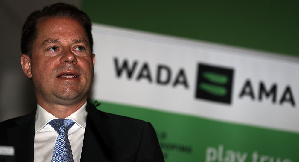 Olivier Niggli, Chief Operating Officer and General Counsel speaks during the 2016 World Anti-Doping Agency (WADA) media symposium at Lord's cricket ground in London on June 20, 2016