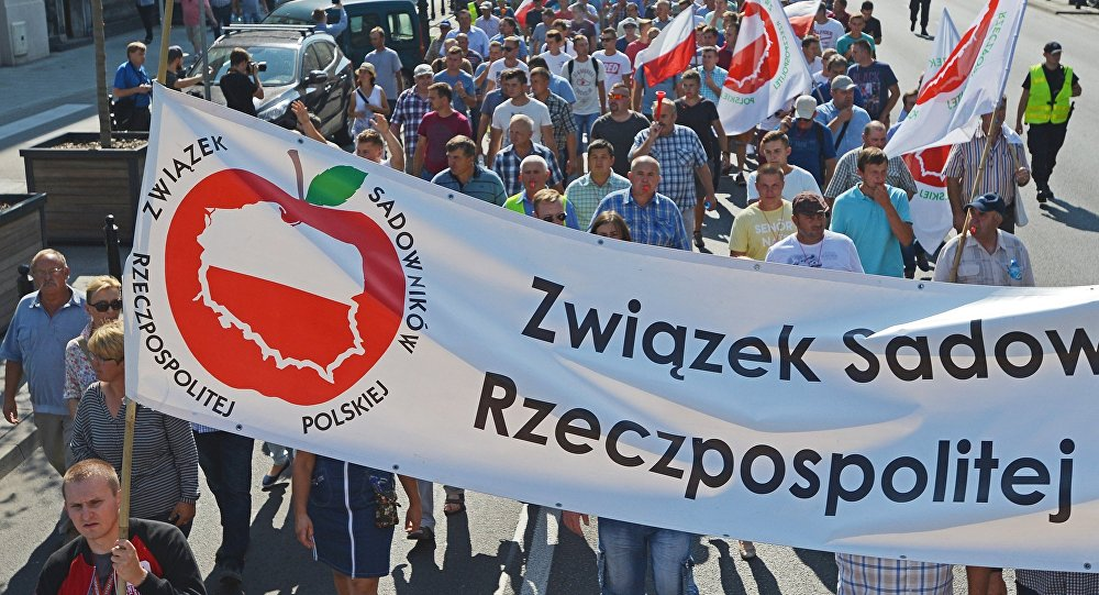 Polish fruit growers hold a protest rally in Warsaw demanding amendments to the anti-Russian sanctions in order to resume apple exports into Russia. file photo
