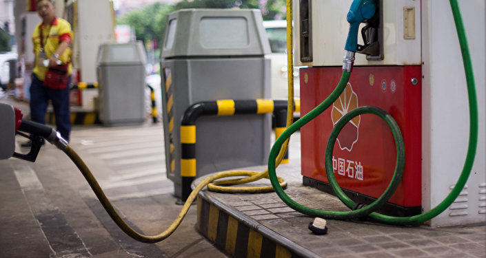 This photo taken on August 27, 2014 shows a petrol pump at a PetroChina petrol station in Shanghai