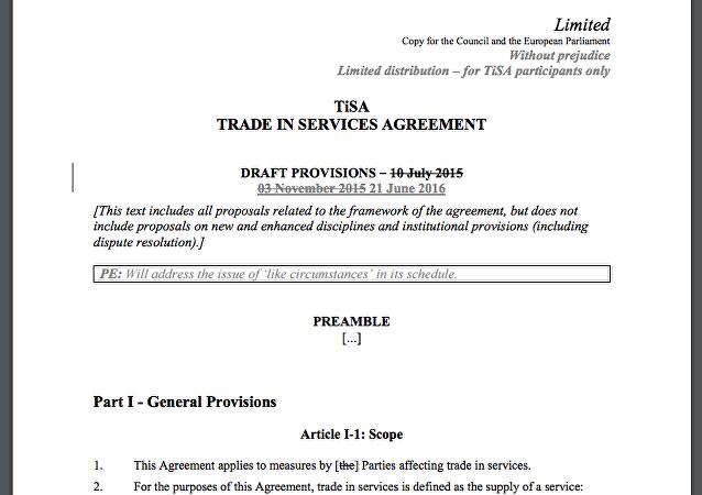 Trade In Services Agreement Tisa Sputnik International