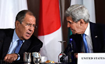 U.S. Secretary of State John Kerry speaks with Russian Foreign Minister Sergei Lavrov during the International Syria Support Group meeting at the Palace Hotel in Manhattan, New York, U.S., September 22, 2016