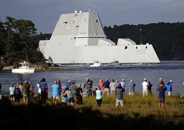 The future USS Zumwalt heads down the Kennebec River after leaving Bath Iron Works Wednesday, Sept. 7, 2016, in Bath, Maine