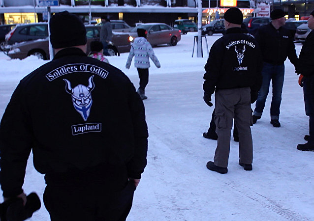 A group of men calling themselves the 'Soldiers of Odin' are pictured on February 5, 2016 in Kemi, northern Finland. Fierce-looking men calling themselves the Soldiers of Odin patrol Finnish streets claiming to protect locals from asylum seekers