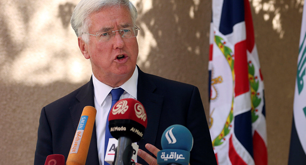 Britain's Defence Secretary Michael Fallon speaks during a press conference at the British embassy in Baghdad, Iraq, September. 21, 2016.