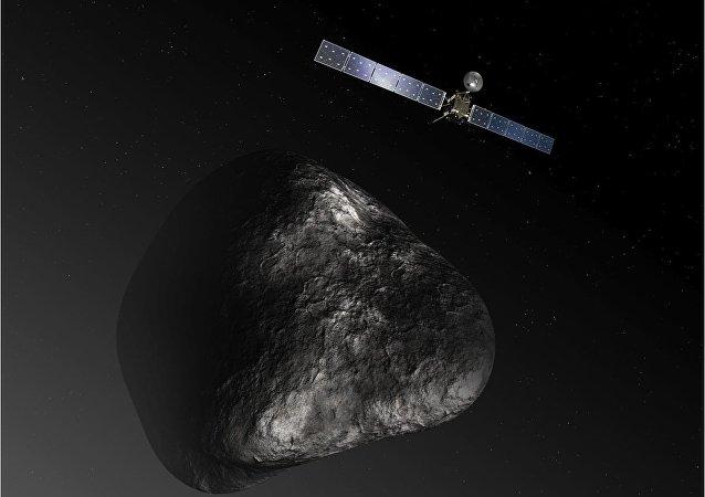 Artist impression of the Rosetta orbiter at comet 67P/Churyumova-Gerasimenko. The image is not to scale.