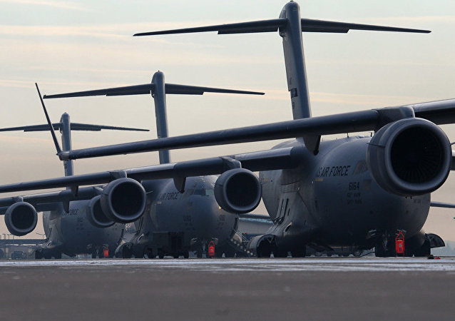 C-130 Hercules transport aircraft at US Airbase at Ramstein.