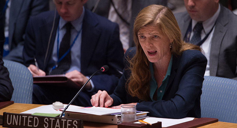 United States Ambassador to the UN Samantha Power speaks during a United Nations Security Council emergency meeting on the situation in Syria, at the United Nations September 25, 2016 in New York