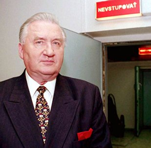Former President of Slovak Republic Michal Kovac leaves the studio of Slovak Television in Bratislava after his televised announce that he removed his name from the 10-candidate field Tuesday and endorsed the government's choice, Rudolf Schuster on Tuesday, May 11, 1999