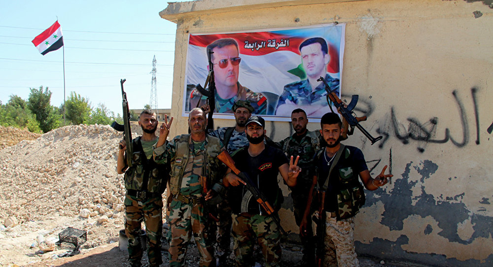 Syrian army troops are in southern Aleppo. File photo