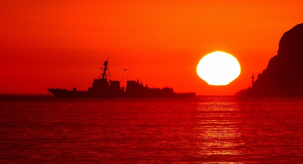 USS Halsey (DDG 97) out of San Diego at sunset (file)