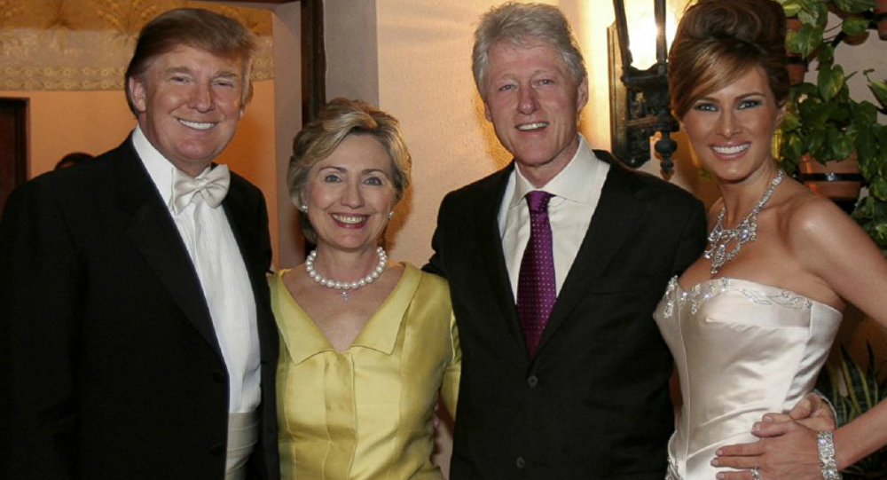 Bill and Hillary Clinton at Donald and Melania Trump's wedding