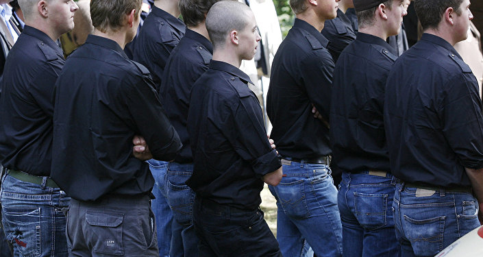 A group of young neo-Nazis attend a celebration at the Ulrichsberg (Mount Ulrich) on September 21, 2008 in Karnburg, some 300 kms south of Vienna.