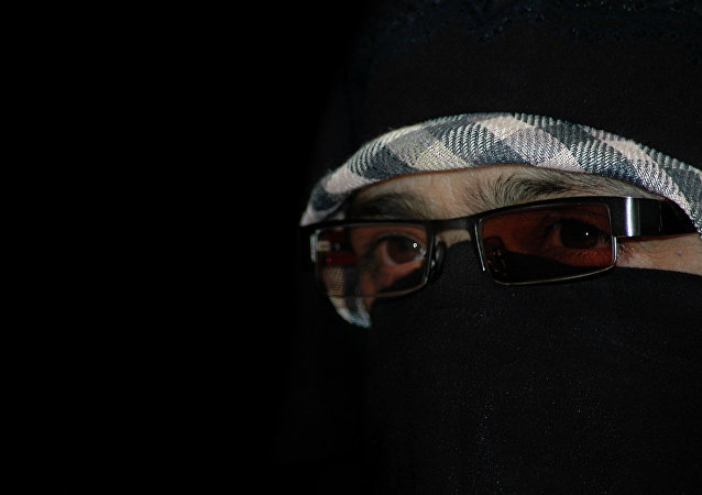 Chief of Kashmiri women's separatist group, Dukhtran-e-milat, or Daughters of the Nation, Asiya Andrabi, looks on during a press conference in Srinagar, India. (File)