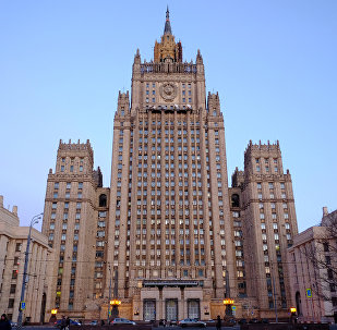 The Russian Ministry of Foreign Affairs on Smolenskaya-Sennaya Square in Moscow.