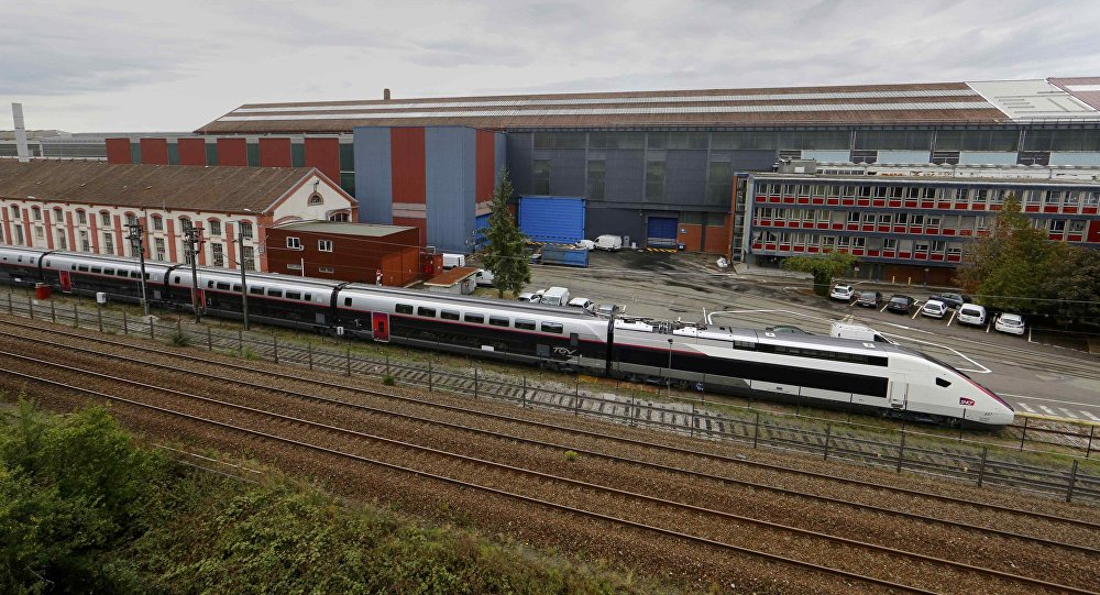 A new French high-speed train TGV is seen in front of the main plant of the French engineering giant Alstom in Belfort, France, September 16, 2016