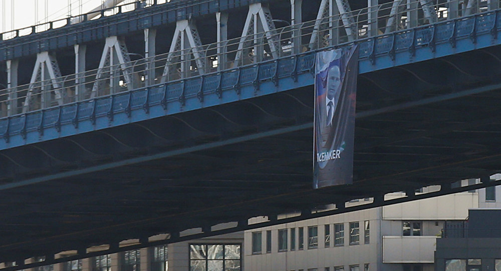 Banner Calling Putin a 'Peacemaker' Unfurled From New York City ...