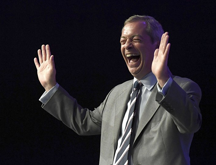 Nigel Farage, the outgoing leader of the United Kingdom Independence Party (UKIP), reacts during the party's annual conference in Bournemouth, Britain, September 16, 2016.
