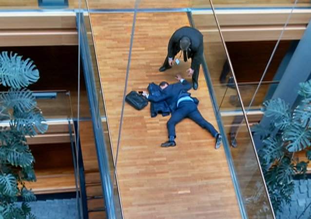 A still image taken from video shows a man, believed to be UK Independence Party (UKIP) Member of the European Parliament (MEP) Steven Woolfe, face down on a floor at the European Parliament in Strasbourg, France, October 6, 2016.