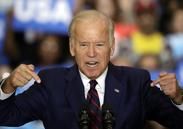 Vice President Joe Biden speaks as he campaigns for Democratic presidential candidate Hillary Clinton at Bucks County Community College in Bristol, Pa., Friday, Oct. 7, 2016