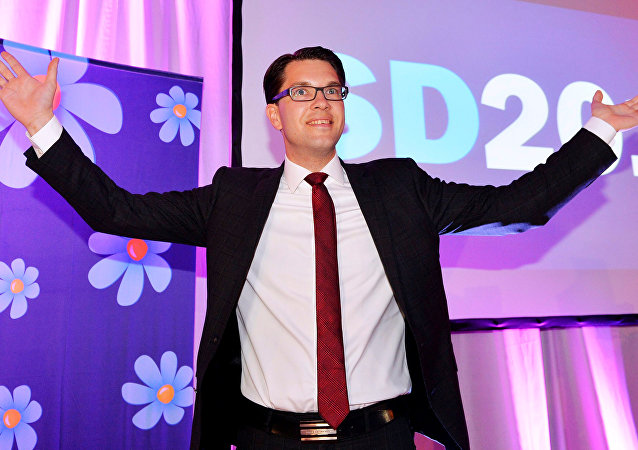 Sweden Democrats Party leader Jimmie Akesson in Stockholm, Sweden (File)