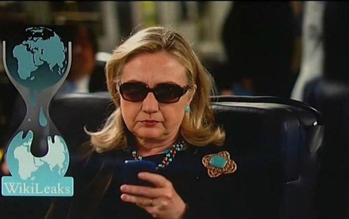 WikiLeaks Logo and Hillary Clinton