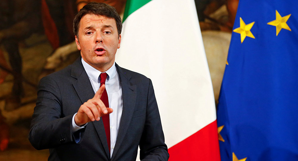 Italian Prime Minister Matteo Renzi gestures as he talks during a news conference at Chigi Palace in Rome, Italy October 12, 2016.