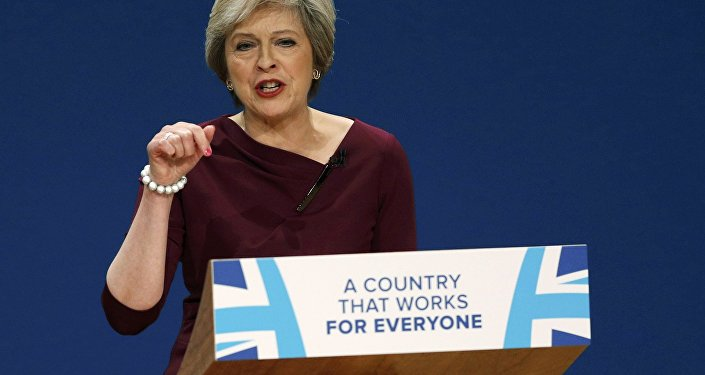 Britain's Prime Minister Theresa May gives her speech on the final day of the annual Conservative Party Conference in Birmingham, Britain, October 5, 2016.