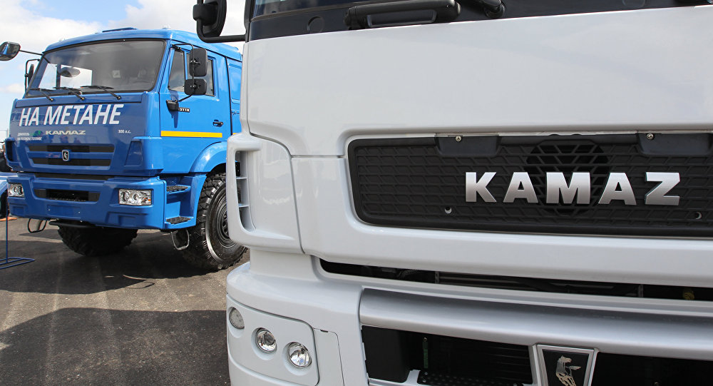 Trucks equipped with engines running on natural gas at KAMAZ truck manufacturing facility in Naberezhnye Chelny