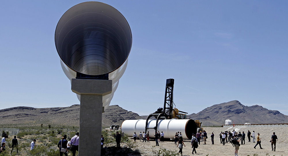 Hyperloop tubes are displayed during the first test of the propulsion system at the Hyperloop One Test and Safety site on May 11, 2016 in Las Vegas, Nevada