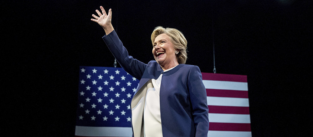 Democratic presidential candidate Hillary Clinton waves after speaking at a fundraiser at the Civic Center Auditorium in San Francisco, Thursday, Oct. 13, 2016