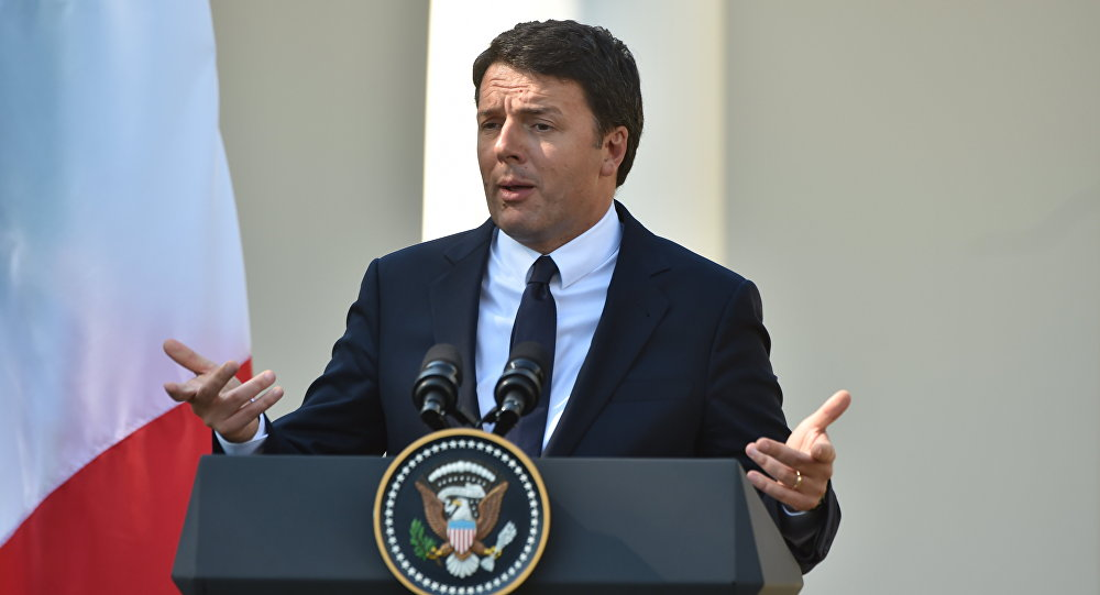 Italian Prime Minister Matteo Renzi speaks during a joint press conference with US President Barack Obama at the White House in Washington, DC, October 18, 2016