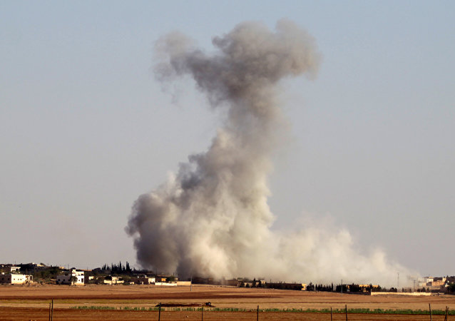 Smoke rises from airstrikes on Guzhe village, northern Aleppo countryside, Syria October 17, 2016.